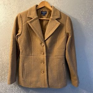 Pendleton, Tan Merino Wool, Single Breasted, Women's Jacket/Blazer Medium Petite